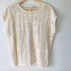Chico's Size 2 - 12 Sheer Embroidered Blouse